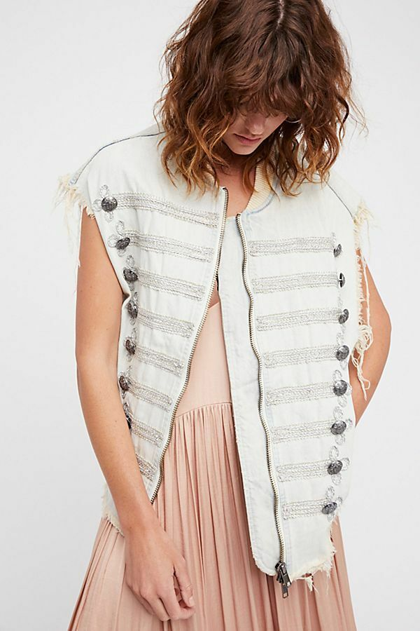 Free People Embroidered Officer Denim Vest size XS   S NEW MSRP