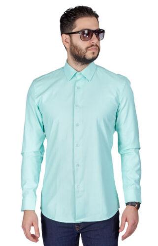 Slim Fit Mint Green Men/'s Dress Shirt Spread Collar Fitted Convertible Cuff AZAR