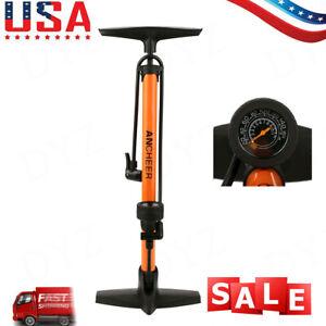 Portable High Pressure Floor Pump with Pressure Bike Tire Pump Barometer Orange