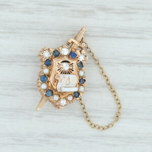 Phi-Delta-Theta-Badge-10k-Yellow-Gold-Pearls-Sapphires-Vintage-Fraternity-Pin
