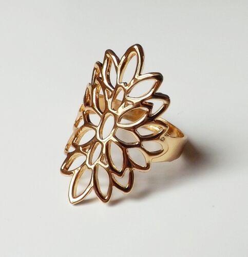 floraler Ring Blatt Blätter Ring florales Ornament Solitär Gr.18 (57/58) gold