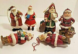 6 Santa Ornaments Resin Material 3 3/4  inches Tall