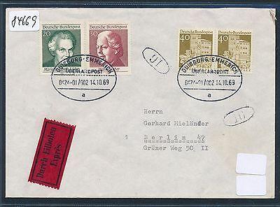"""Überlandpost Duisburg Emmerich 0424-01/002 """"a"""" Eilb-brief Paar 40pf Neue Sorten Werden Nacheinander Vorgestellt 84669"""