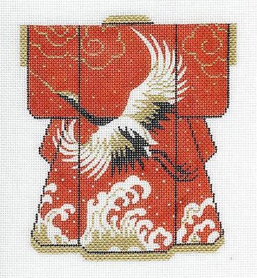 Oriental Wedding Cranes Petite Kimono w// Gold handpainted Needlepoint Canvas LEE