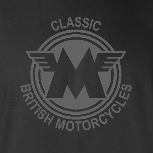 MATCHLESS MOTORCYCLES-TRIBUTE-BRITISH-CLASSIC-BIKER-GREY LOGO-BLACK T-SHIRT