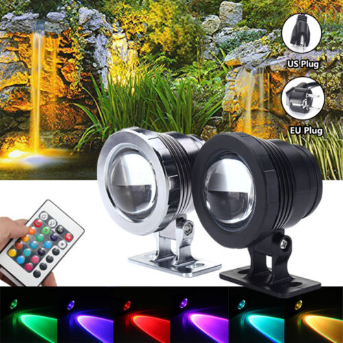10W RGB LED Light Fountain Pool Pond Spotlight Underwater Waterproof US//EU Plug