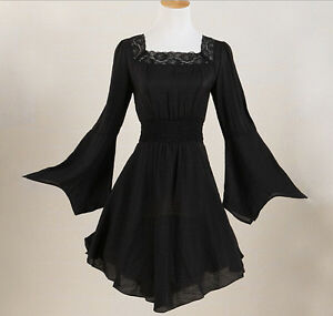 Women-Tunic-Punk-Gothic-Victorian-Lace-Black-Plus-Size-Shirt-Dress-Blouse