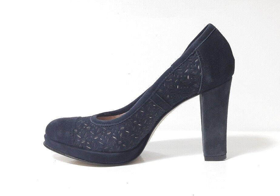 Schuhe CAMOSCIO DECOLTE' Damens ATELIER E553 CAMOSCIO Schuhe BLU TACCO ALTO GOMMA MADE IN ITALY f9c6b2