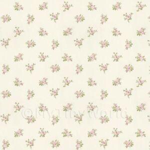 Puppenhaus-Miniatur-blassrosa-Rose-Posie-Tapete