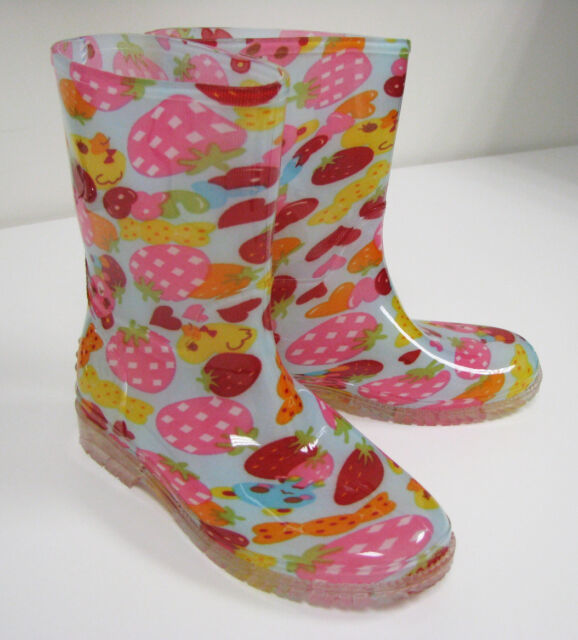 New Children's Rain Boots Kids Boys Girls Print Colors Snow Slip On, Sizes: 11-3