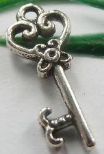Wholesale free ship 100pcs tibet silver key charms 21x9mm