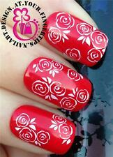 NAIL ART WRAPS Water Trasferimenti Adesivi decalcomanie DECO Set Floreale Rose Bianche #260