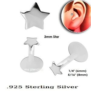 "Energetic 1pc 16g 1/4 "" 0.8cm Bio Flessibile Push-in .925 Stella Argento Top"