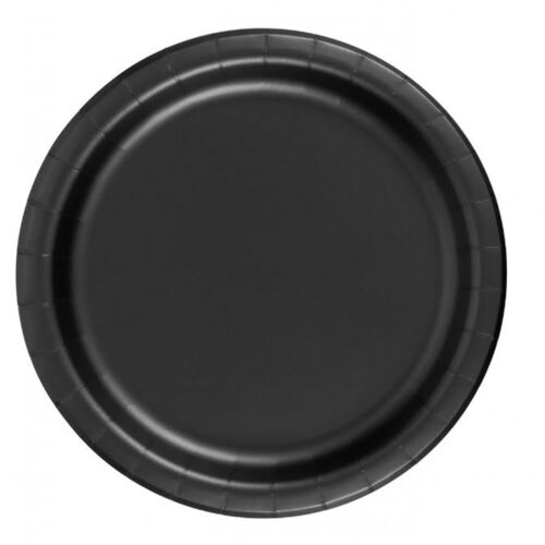 """24 Plates 10/"""" Paper Dinner Lunch Plates Wax Coated Black"""