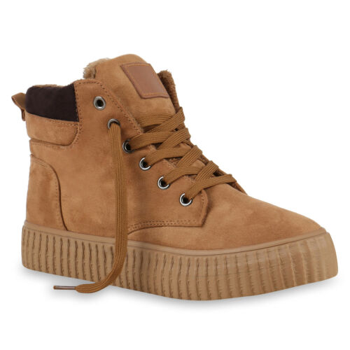 Gefütterte Damen Sneakers High Winter Schuhe Profil Sohle 891304 Top