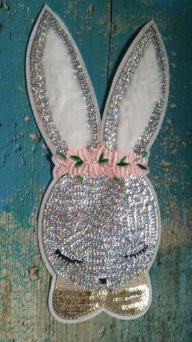 Patch Hase Kaninchen silbern süß mit Pailletten Applikation Aufnäher