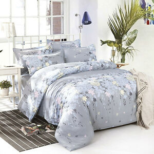 Home-Decor-Double-Queen-Size-Bed-Set-Pillowcases-Quilt-Duvet-Cover-Rosemary
