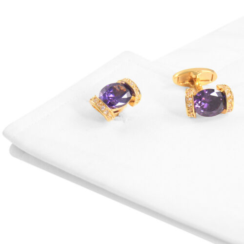 Exquis Boutons de Manchette Plaqué Or Embedded Purple Zircon Homme