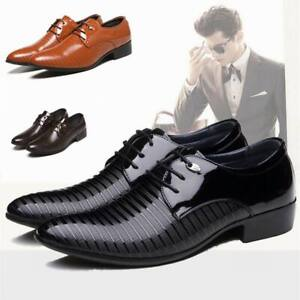 Men-039-s-Formal-Dress-Wetlook-Leather-Shoes-Business-Lace-Up-Oxfords-Casual-Loafers