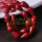 New 20pcs 16X10mm Faceted Teardrop Glass Spacer Loose Beads Opaque Deep Red