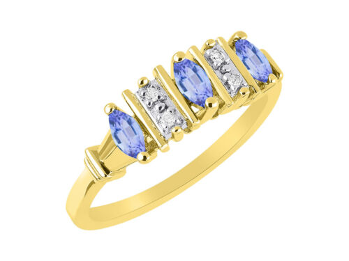 Details about  /Marquise Tanzanite /& Diamond Ring Set in Yellow Gold Plated Silver .925 SL-LR603
