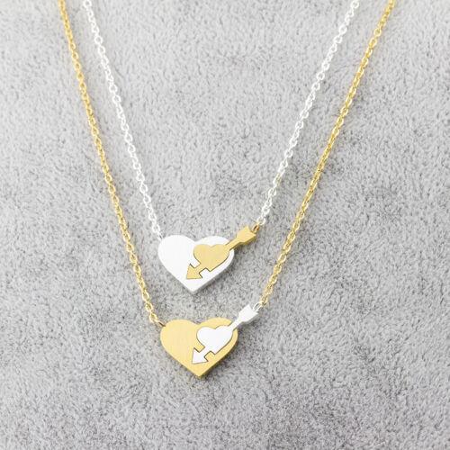 Damen Kette Edelstahl Versilbert Vergoldet Herz Anhänger Halskette Pfeil Liebe