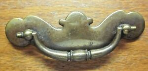 "Drawer 1697 Bat Drop Bail Pull Handle 1960s Dark Aged Brass 3"" Centers 1 Vintage"