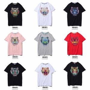 Farfetchkenzo-Herren-Damen-Kurzarm-T-shirt-Kurze-Armel-Kurzarm-Tops-Stickerei