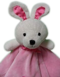 CARTER'S ADORABLE PINK BUNNY RABBIT BABY SECURITY BLANKET Rattle knot Corners