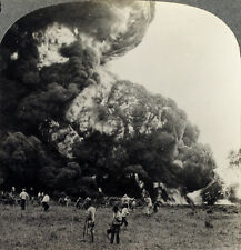 Keystone Stereoview of a big Oil Fire in Jenks, Oklahoma From RARE 1200 Card Set