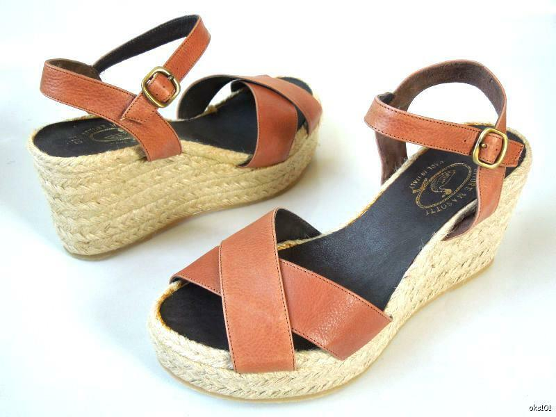 New  248 ETTORE MASOTTI Nordstrom brown leather espadrille WEDGES shoes  10