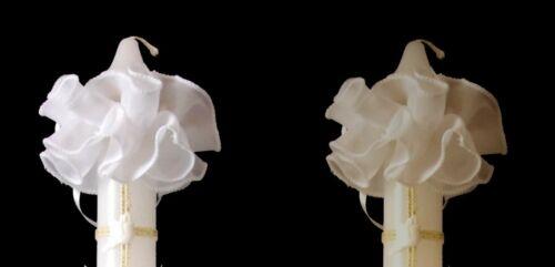 Tropfschutz weiss ivory Kerzentuch Kerzenrock Kommunionkerze Taufkerze Kommunion
