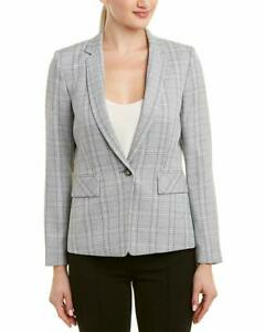 Tahari-Womens-Plaid-One-Button-Notch-Collar-Jacket-Grey-Ivory-Size-12