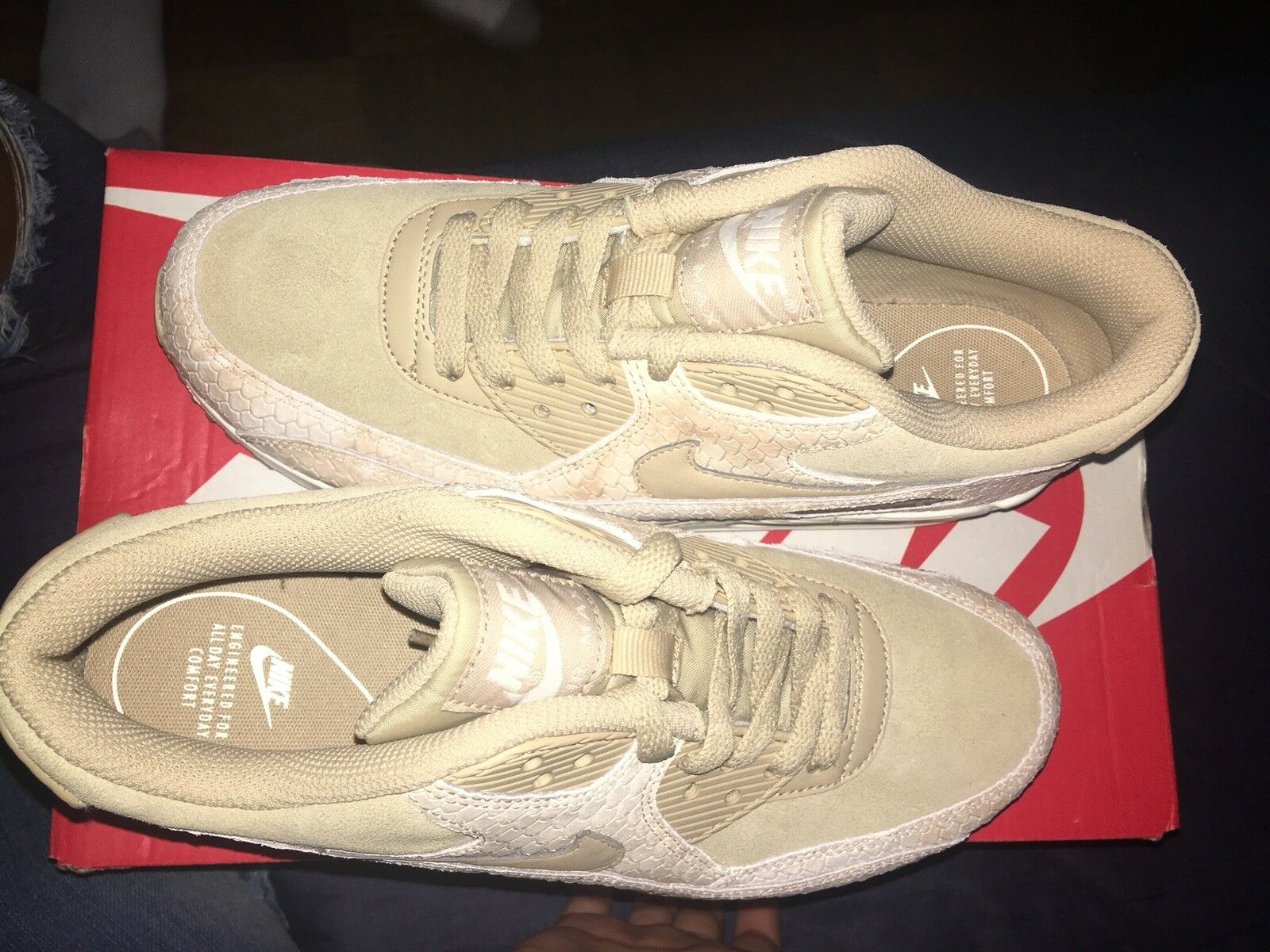New Women's Nike Air Max 90 Linen Sail Snake Snake Snake shoes 896497-200 Size 8 a34aba