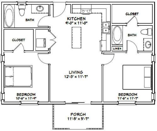 36x24 House 2 Bedroom 2 Bath PDF Floor Plan 864 sq ft Model 1C