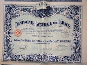 Cgt Compagnie Générale Des Tabacs Action Privilégiée 100 Francs 1927 Uvxzhyyx-07221402-384890101