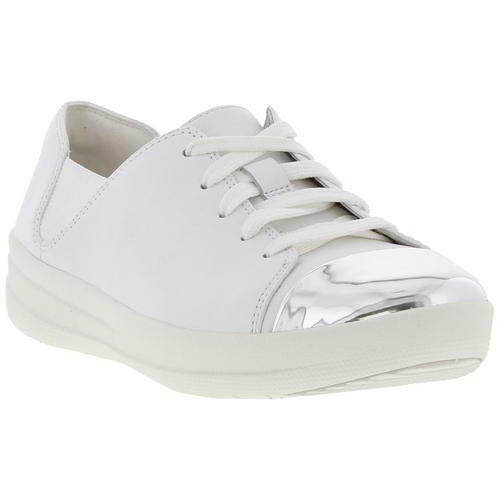 Fitflop F Sporty Mirror Toe Sneaker Womens Womens Sneaker White Leather Trainers Size 4-8 50e1c9