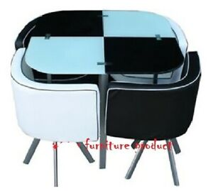 New Modern Space Saving White Black Square Glass Dining Table 4 Chairs Set Ebay