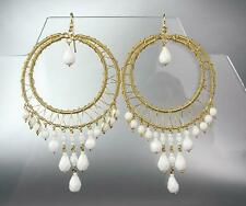 EXQUISITE White Agate Stone Crystals Gold Chandelier Dangle Peruvian Earrings