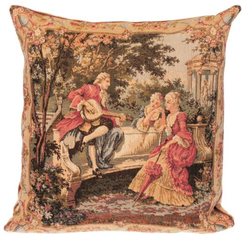 belgian gobelin tapestry cushion pillow cover elegant scenery mandolin player