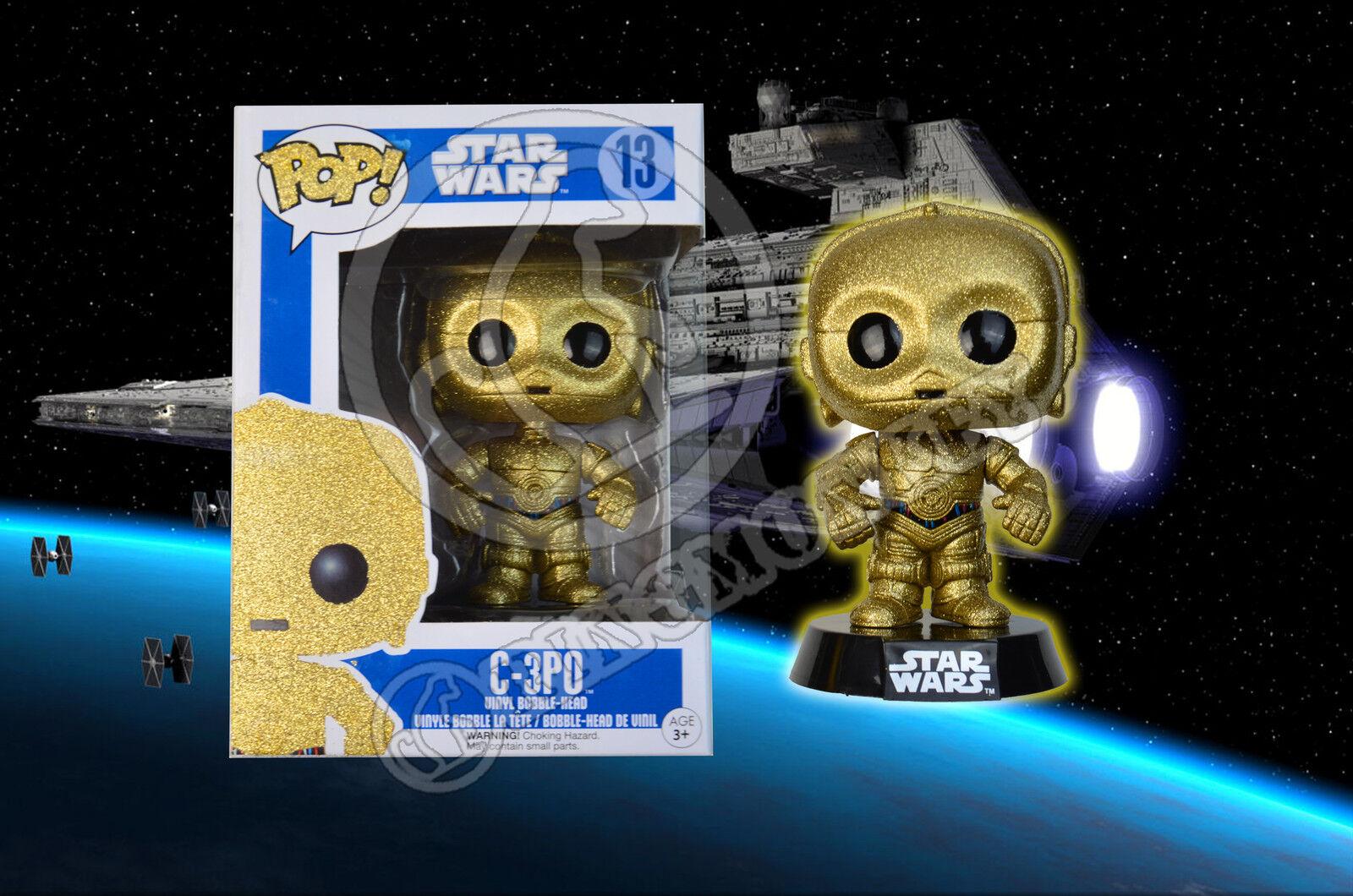 Star Wars C3P0 C-3P0 Funko POP  Figure - CUSTOM REPAINT - GLITTERING GOLD