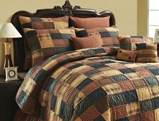 PATRIOTIC PATCH Full Queen QUILT SET : PRIMITIVE AMERICAN RUSTIC CABIN COMFORTER