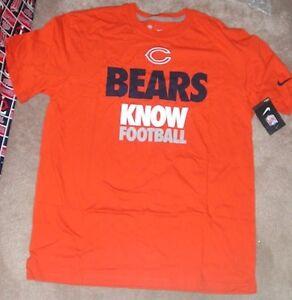 e8ba910b NEW NFL Chicago Bears Knows Statement T Shirt Orange L Large NIKE ...