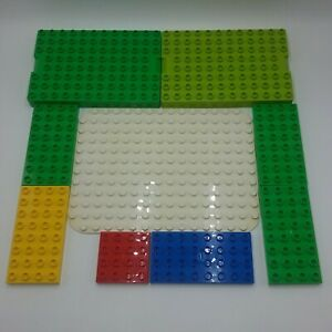 Duplo-Lot-Of-9-Base-Plate-Base-Thin-Pieces-4x8-4x4-8x12-12x16-Yellow-Green-Red