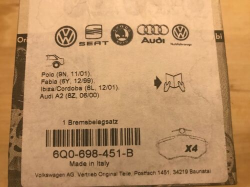 VW Bremsbeläge 6Q0-698-451-B original VAG Audi A2 Polo Fabia IbizaCordoba hinten
