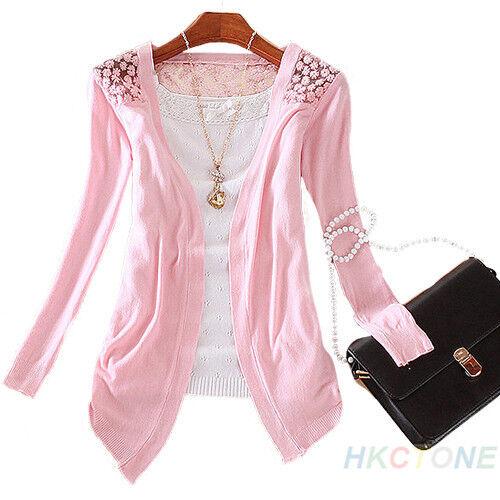 Womens Candy Color Crochet Knitwear Lace Cardigan Blouse Tops Coat Sweater B82U