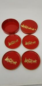 VINTAGE-Otagiri-Golden-Coach-Red-Coaster-Set-With-Case-MCM-Christmas-Japan