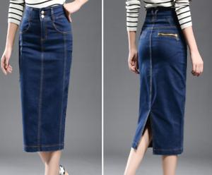 Denim SkirtS Women/'s 2XS-7XL Casual High Waist Jeans Skirts Pencil Stretch Slim