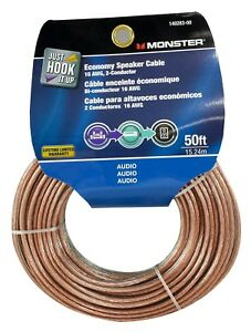 Monster Cable Economy Audio Speaker Wire 16 Gauge - 50 Ft ...