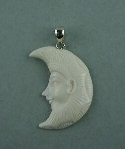 Ehrlich Bone Carving Pharao ägyptisches Motiv Mond Bison Knochen Sterling Silber